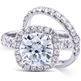 Round-cut Moissanite & Lab Diamond Accent Wedding Ring Set 3 Carat (ctw) in 14k White Gold (2 Piece Set) (7)