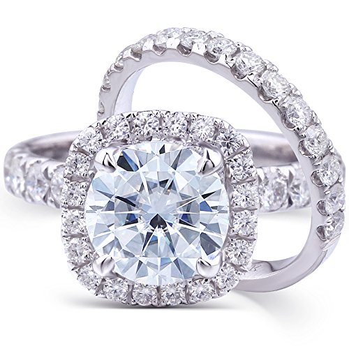 Round-cut Moissanite & Lab Diamond Accent Wedding Ring Set 3 Carat (ctw) in 14k White Gold (2 Piece Set) (7) by TransGems