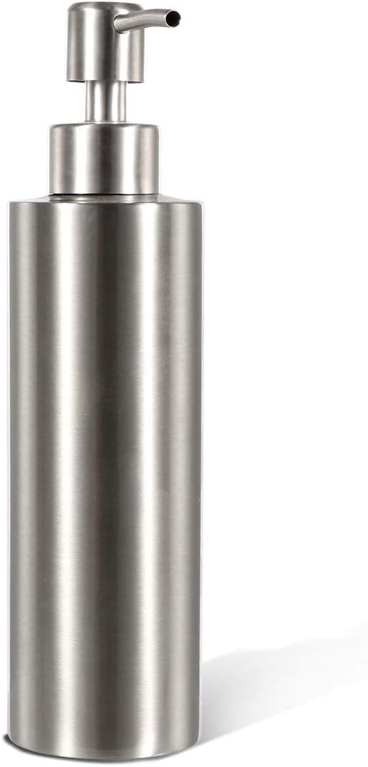 GLUBEE Dispensador de jabón de acero inoxidable para champú, salsa de cocina y desinfectante de manos, ideal para cocina, baño, cuarto de lavandería (350 ml)