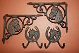 (8) COUNTRY WESTERN SHELF BRACKETS, HORSE WALL HOOKS, SET OF 8, CAST IRON CORBEL