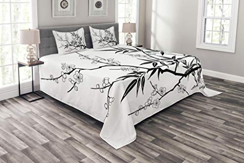 Lunarable Modern Bedspread Set Queen Size, Japanese Cherry Blossoms Asian Tree Branches with Flowers Leaves Image Print, Decorative Quilted 3 Piece Coverlet Set with 2 Pillow Shams, Black and White