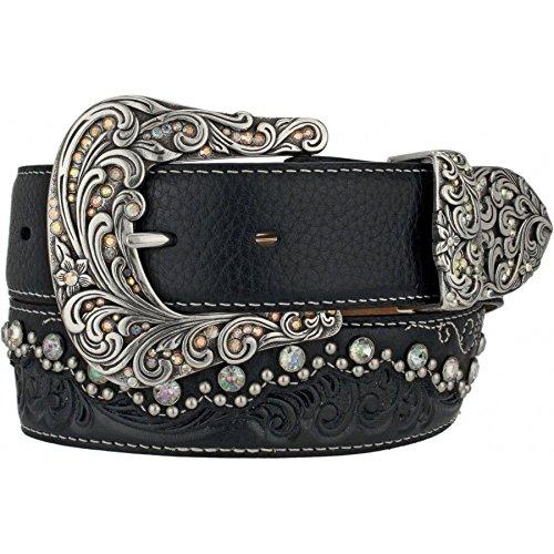 Tony Lama Women's Kaitlyn Crystal Scalloped Leather Western Belt Black 34