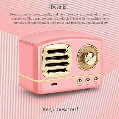 Dosmix Wireless Stereo Retro Speakers, Portable Bluetooth Vintage Speakers with Powerful Sound, Answering Calls, Alexa Support, TF Card, AUX for Kitchen Bedrooms Party Outdoor Android iOS Pink 51bplZTDGVL