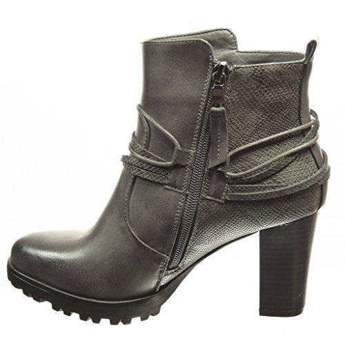Angkorly - Chaussure Mode Bottine low boots plateforme femme peau de serpent lanière Talon haut bloc 8 CM - Intérieur Fourrée - Gris