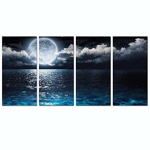 Sea Charm - Modern Canvas Wall Art Large Full Moon in Cloud Landscape Picture Canvas Prints with Frame,Blue Clear Ocean Seascape Giclee Artwork (12