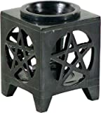 New Age OIL BURNER - SOAPSTONE PENTACLE BLACK 3.25 In