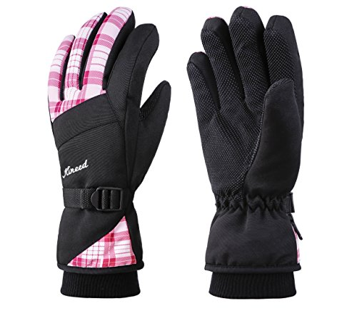 Pink Womens Snowboard Glove - KINEED Waterproof Women Winter Ski Snowboard Snow Riding Biking Driving Thinsulate Insulated Warm Gloves,Medium,Pink
