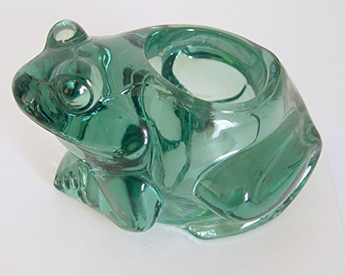 Indiana Glass Vintage Heavy Green Glass Frog Votive Candle Holder (Candy Dish Frog)