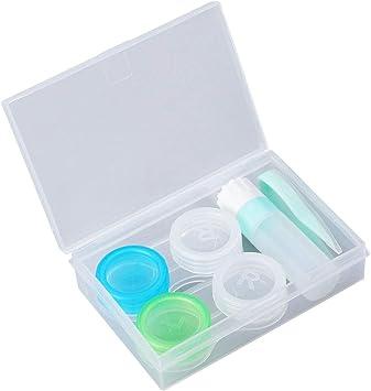SUPVOX 2pcs Caja de Lentes de Contacto Kit de Viaje Estuche Lentillas con Pinza Aplicador Palo Botella de Solución (verde): Amazon.es: Salud y cuidado personal