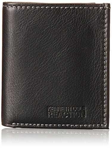 Kenneth Cole Reaction Men's Leather Slim Square Passcase Wallet, Black, One Size