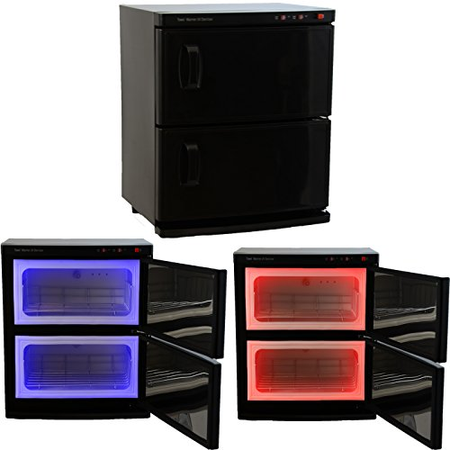 Black High Capacity Double-Decker Hot Towel Cabinet & Ultraviolet Sterilizer Salon Spa Beauty Equipment by InkBed