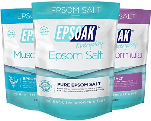 Ultimate Epsoak Epsom Salt Bath Soak Bundle (6lbs) – 3 pack of Sleep Formula Bath Salt, Muscle Soak Bath Salt, Original Unscented Epsom Salts