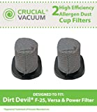 2 Dirt Devil Style F25 Filters; Compare to Dirt Devil Part Nos. 2SV1102000, 3SV0980000; Designed & Engineered by Crucial Vacuum