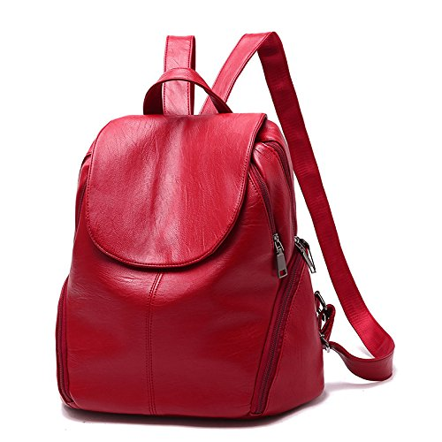 Sport Casual HMWHJP De Lady à Sac WineRed Main New Leather WineRed Soft Élégant Backpack Student Side Sacs zrYO6z1