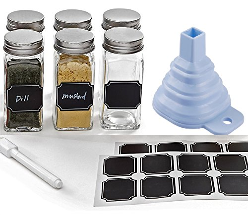 Set of 6 - Square Glass Spice Jars