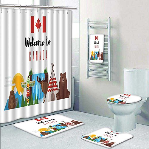 PRUNUSHOME Designer Bath Polyester 5 Piece Bathroom Setvector Flat Style Canadian National Objects
