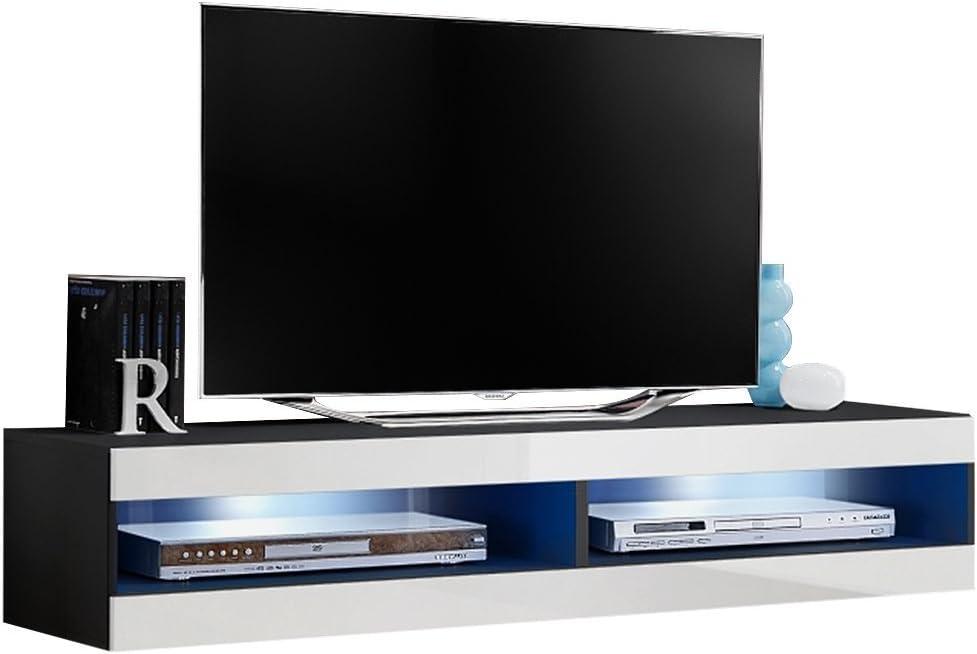 JUSTyou FLI T34 Mueble para TV Mesa televisión salón Tamaño: 30x160x40 cm Negro Mat/Blanco Brillante: Amazon.es: Hogar
