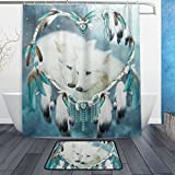 BAIHUISHOP Dream Catchers Wolf 3-Piece Bathroom Set, Machine Washable for Everyday Use,Includes 60x72 Inch Waterproof Shower Curtain, 12 Shower Hooks and 1 Non-slip Bathroom Rug Carpet - Set of 3