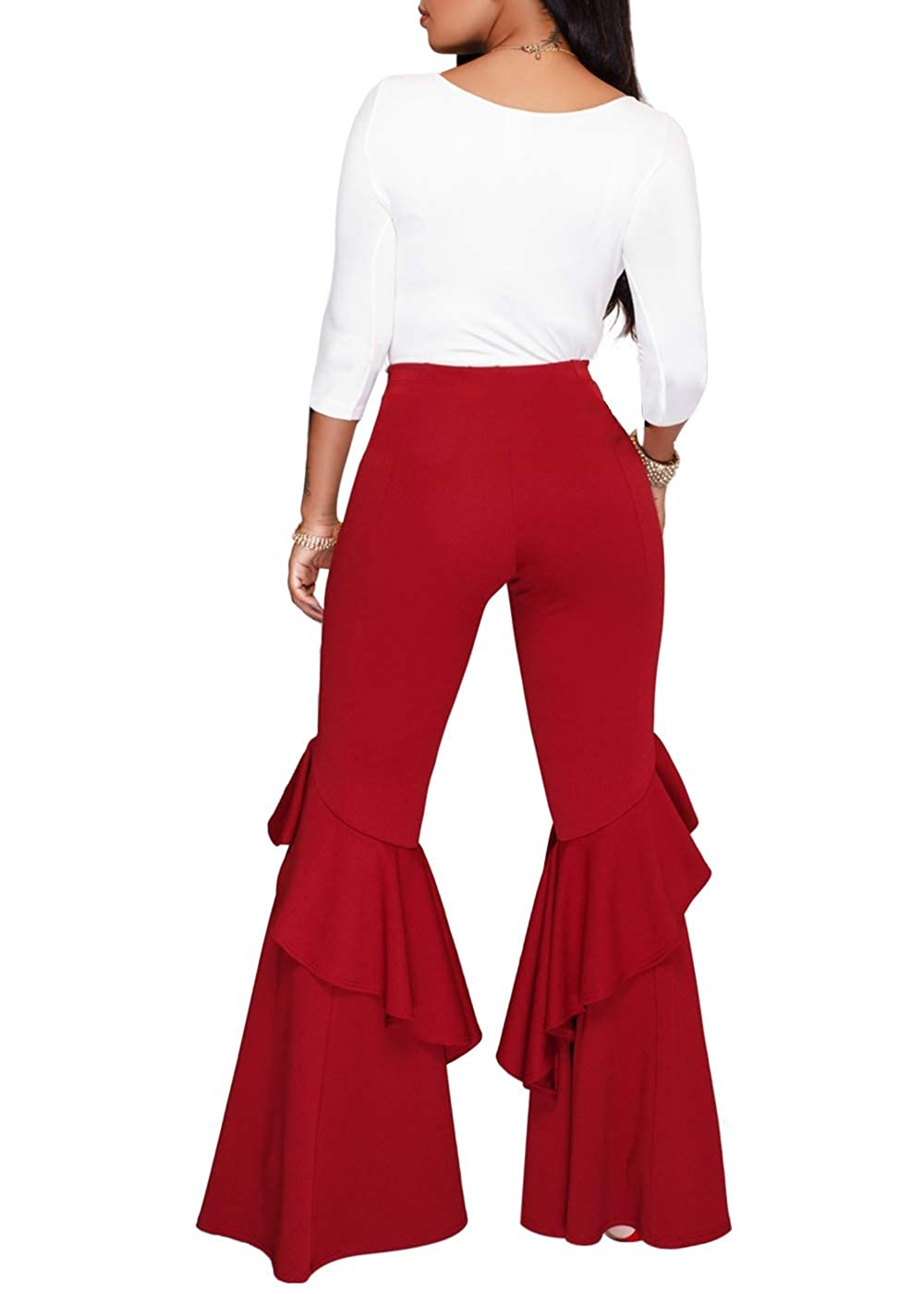 6f5020969f Feditch Women's Eye-catching High Waist Ruffle Bell Bottom Wide Leg Flare  Pants Trousers at Amazon Women's Clothing store: