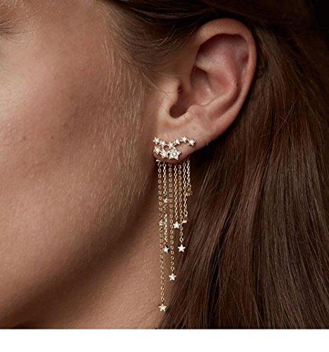 Wcysin 1Pair Beautiful Gold Star Tassel Long Earrings for Women Girls