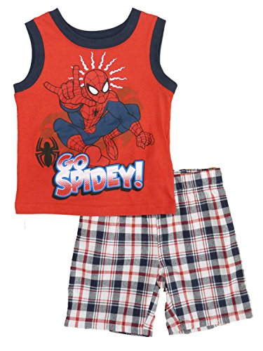 spider-man+tank+tops Products : Marvel Ultimate Spider-Man Infant Boy 2P Go Spidey Tank Top Plaid Shorts Set
