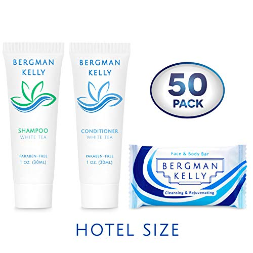 BERGMAN KELLY Soap Bars & Shampoo and Conditioner 3-Piece Set (1 Oz each, 150 Pieces, White Tea), Delight Your Guests with Revitalizing and Refreshing Travel Toiletries Hotel Amenities in Bulk