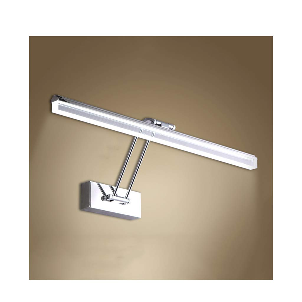 &Spiegelleuchte LED-Spiegelscheinwerfer - Drei-Ton-Licht Edelstahl verstellbare Badezimmerspiegelschrank-Wandleuchte (Farbe   Warmes Licht-45cm-9w)