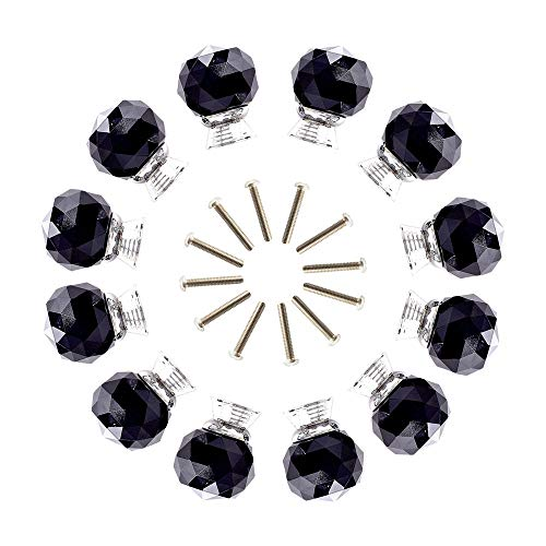 (ANJUU 12 Pcs 30mm Round Shape Crystal Glass Cabinet Knobs with Screws Drawer Knob Pull Handle Used for Kitchen, Dresser, Door, Cupboard)