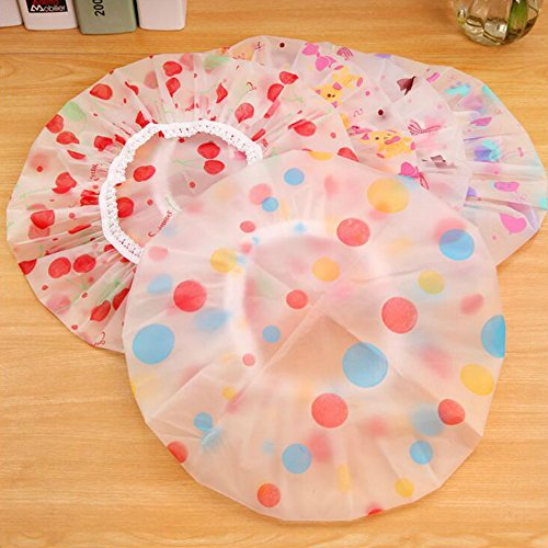 (AKOAK 5 Pieces Reusable Waterproof EVA Plastic Lace Elastic Band Flower Printed Hat Environmental Protection Hair Bath Caps Shower Caps )