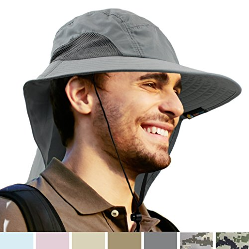 Bucket Hat by Sun Cube | Wide Brim, Neck Flap, Sun Protection, Unisex | Ideal for Fishing, Hiking, Camping, and Outdoor Activities (Gray) (Blazing Bucket)