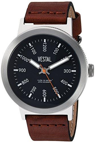 Vestal Men's 'Retrofocus' Quartz Stainless Steel and Leather Casual Watch, Color:Brown (Model: SLR443L01.BRBK)