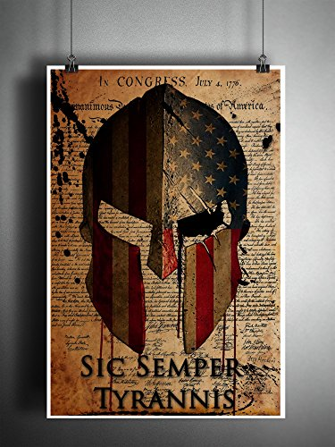 Spartan Helmet American flag art, declaration of independence print, with US map for an eye