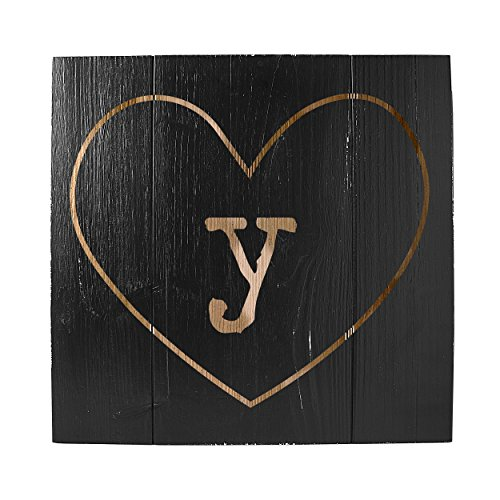 Decoration Table Cathys Concepts (Cathy's Concepts Personalized Rustic Heart Wooden Wall Art, Black, Letter Y)