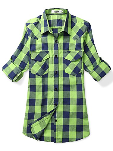 Camisa blau De Colores A Mujeres Larga dünn Ochenta Manga Cuadros Grün Muchos qa4wxI