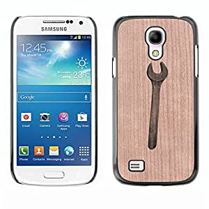 Funda Cubierta Madera de cereza Duro PC Teléfono Estuche / Hard Case for Samsung Galaxy S4 Mini i9190 / Phone Case TECELL Store / Llave Ingeniero Mecánico Handyman Wrench Mechanic Handyman Engineer