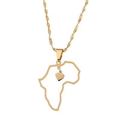 Amazon.com: CB Gold Jewelry African Map Pendant Necklace Jewelry