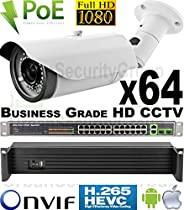 USG Business Grade 2MP 1080P 64 Camera Security System Ultra 4K PoE IP CCTV Kit : 64x 2.8-12mm Lens Bullet Camera + 1x 64 Channel NVR + 2x 26/1x 18 Port PoE Network Switch + 2x 4TB HD : Free Phone App