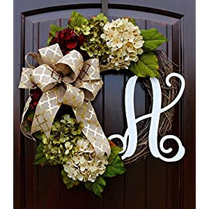 Hydrangea Monogram Initial Wreath with Bow Options and Cream, Ruby Red, and Moss Green Hydrangeas on Grapevine Base-Farmhouse Style 2