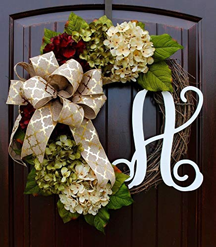 Hydrangea Monogram Initial Wreath with Bow Options and Cream, Ruby Red, and Moss Green Hydrangeas on Grapevine Base-Farmhouse Style - Monogram Holiday Wreath Garden