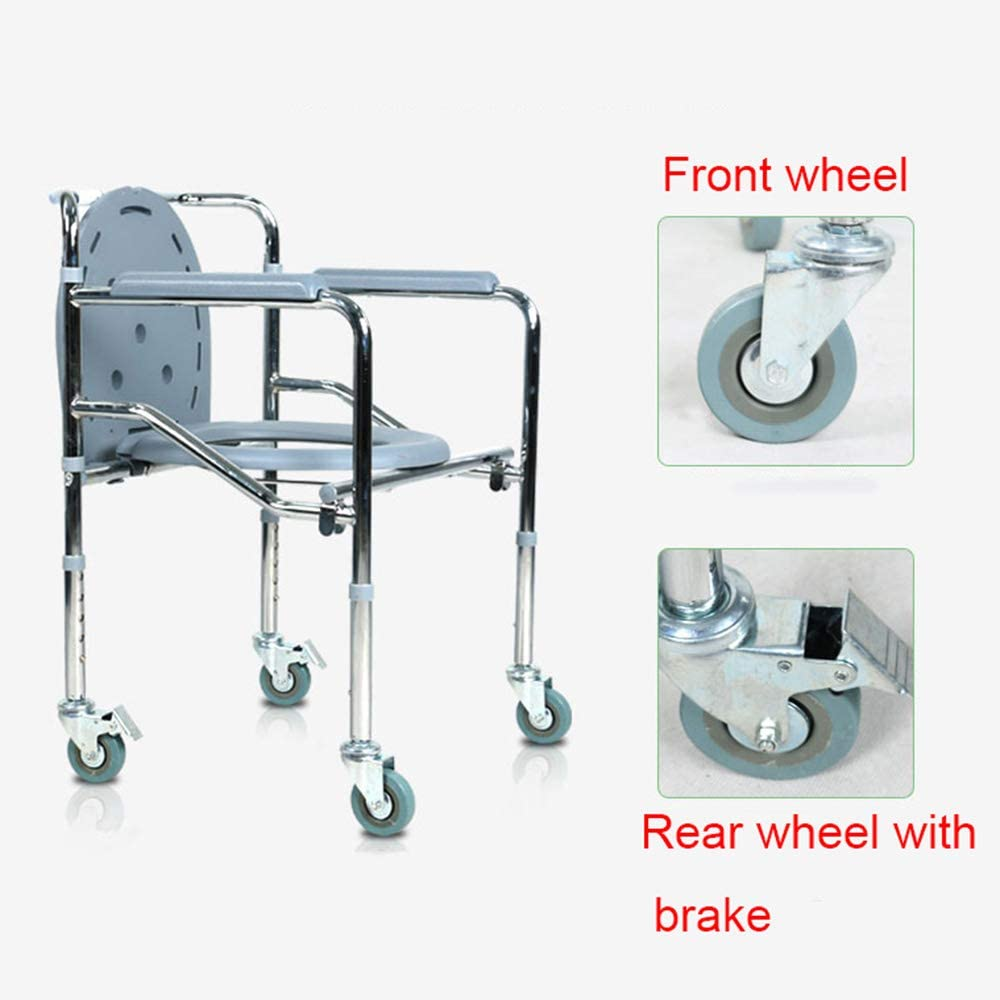 Portable Folding Heavy Weight 500 lbs Xyl Mobile Toilet Chair//Shower Chair//Transport Chair Stainless Steel Safety Chair