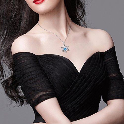 LINLIN FINE JEWELRY 925 Sterling Silver Blue Heart Shaped Cz Jewish Star of David Hexagram Necklace for Women 18 inch