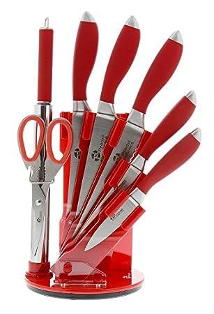 Pradel Excellence I7408r Bloc De 5 Couteaux De Cuisine Rouge