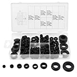 FTVOGUE 180Pcs Black Nylon Rubber Washers Assorted Flat Washers Insulating Round Spacer Seal Assortment