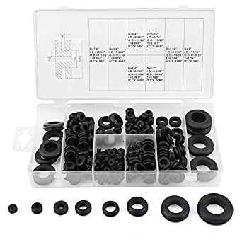Qiilu 180 Pcs Rubber Grommet Kit Rubber Grommet Wire Ring Electrical Gasket Washer Seal Assortment