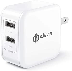 iClever BoostCube 2nd Generation 24W Dual USB Wall Charger with SmartID Technology, Foldable Plug, Travel Power Adapter for iPhone Xs/XS Max/XR/X/8 Plus/8/7 Plus/7/6S/6 Plus, iPad Pro Air/Mini and Other Tablet