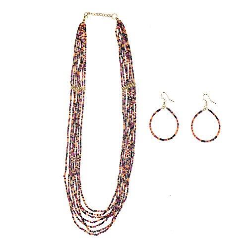 Modern Beaded Necklace Earrings - 2