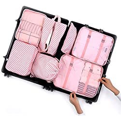 7Pcs Packing Cubes, Travel Luggage Packing Organizers - Multi-functional Clothing Sorting Packages (Pink stripes)
