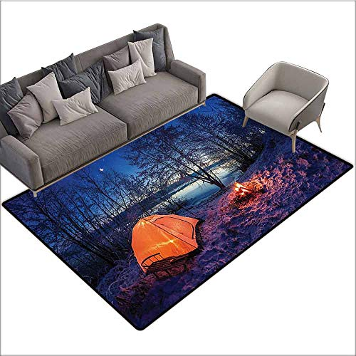Floor mats for Kids Apartment Decor,Dark Night Camping Tent Photo in Winter on Snow Covered Lands by The Lake,Blue Orange 48