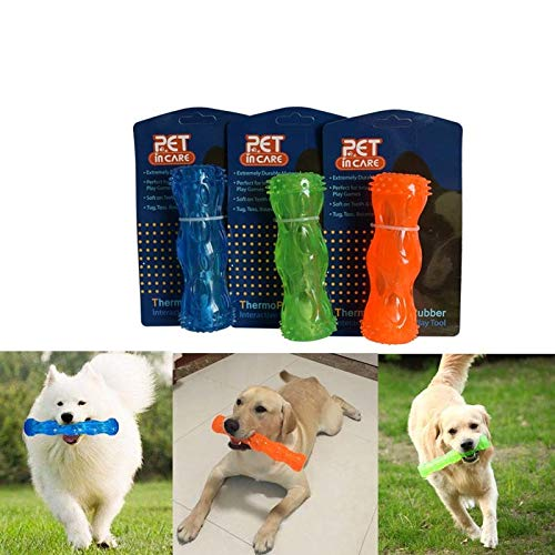 Dozzlor 3 color Pet Dog Toys Non-Toxic Food Leaking Rod Toys Safe TPR Dog Chew Toys Tooth Cleaning Products Dog Toy Supplies