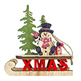 ADESHOP Christmas Decor, Xmas Eve, Santa Christmas Tree Cute Wood Sleigh Pendant Gift Home Hanging Decorations
